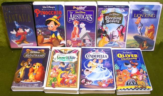 walt disney u0026 39 s masterpiece collection movies lot of 9 vhs tapes clamshells