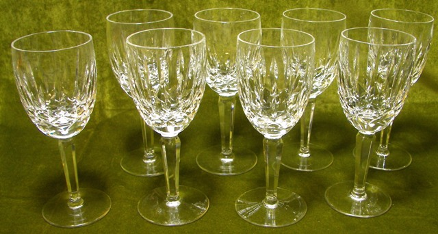 Waterford crystal stemware kildare set of 8 wine glasses excellent condition ebay - Waterford colored wine glasses ...